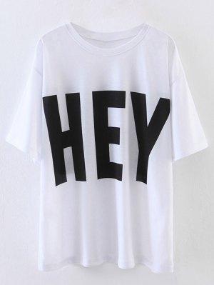 Oversized Hey Print T-Shirt - White
