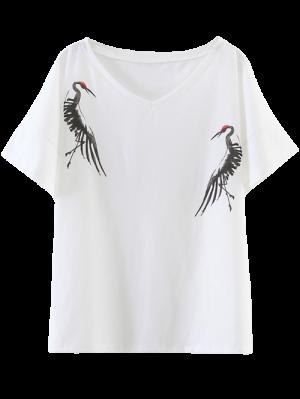 Side Slit Crane Print T-Shirt - White