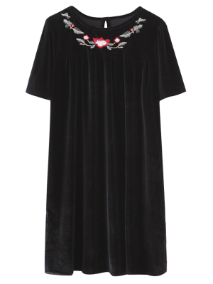 Floral Embroidered Straight Dress - Black
