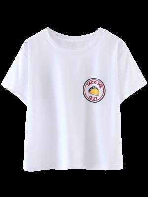 Parcheado Recortada Camiseta - Blanco