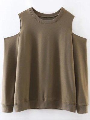 Pullover Cold Shoulder Sweatshirt - Army Green
