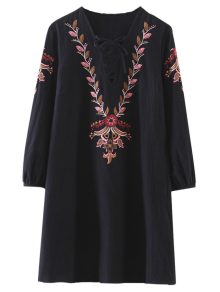 Embroidered Lace-Up A-Line Dress