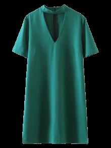 Short Sleeve Shift Choker Dress - Green L