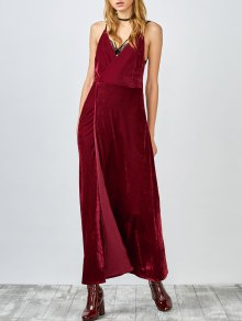 High Slit Velvet Backless Prom Slip Dress - Red L