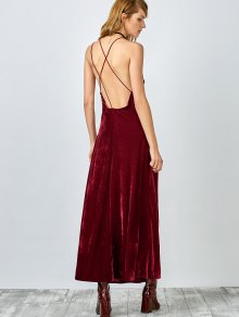 High Slit Velvet Backless Prom Slip Dress RED: Maxi Dresses S | ZAFUL