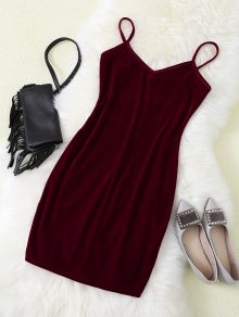 Strappy Velvet Bodycon Slip Dress - Burgundy
