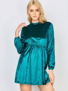 Fit And Flare Open Back Velvet Dress - Malachite Green M