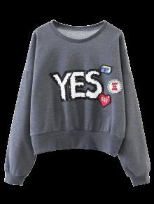 Patché Pailletée Sweat-shirt - Gris M