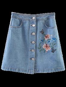 Embroidered Single-Breasted Denim Skirt - Light Blue