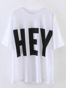 Oversized Hey Print T-Shirt