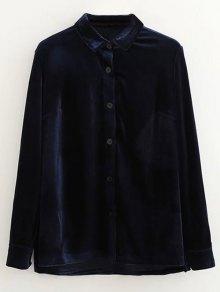 Single-Breasted Velvet Shirt