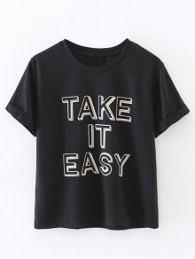 Curled Sleeve Take It Easy T-Shirt - Black M