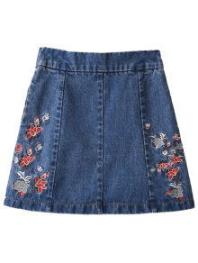 Zippered Floral Denim Skirt - Blue