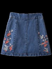 Zippered Floral Denim Skirt