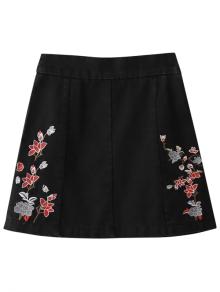 Zippered Floral Denim Skirt