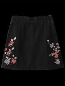Zippered Floral Denim Skirt - Black Xl