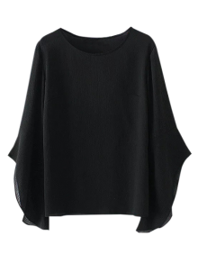 Asymmetric Flare Sleeve Chiffon Blouse