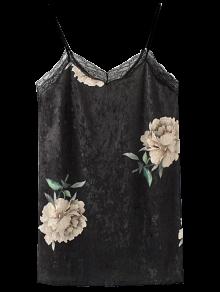 Lace Floral Velvet Slip Dress - Noir L