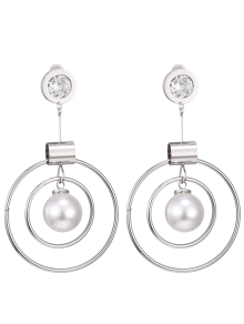 Faux Pearl Rhinestone Circle Earrings