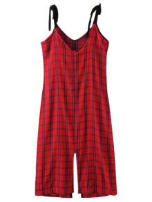 Slit Checked Pinafore Dress