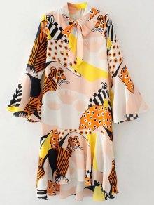 Flare Sleeve Bow Tie Neck Printed Dress - Pinkbeige