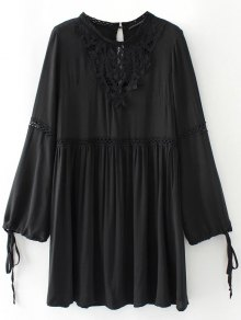 Laser Cut Smock Dress - Black S