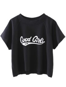 Cropped Letter T-Shirt - Black S