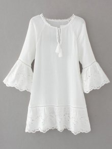 Flare Sleeve Laser Cut Tassels Dress - White M