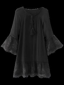 الفستان مع الشرابة والأكمام الرائعة - أسود L