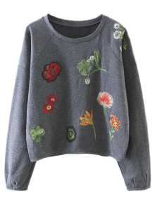Cropped Embroidered Sweatshirt - Gray