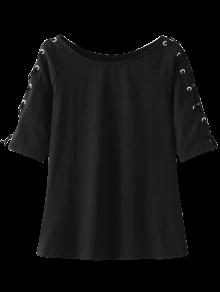 Lace Up Sleeve Raglan Tee - Black L