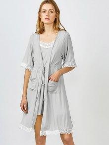 Con borde de encaje Cami ropa de noche con el kimono