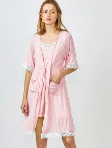 Kimono Et Pyjama à Bordures En Dentelle - Rose Clair M