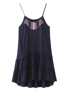 Embroidered Ruffles Cami Dress