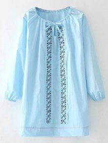 Long Sleeve Patch Embroidered Dress - Azure M