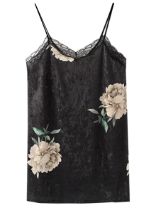 Floral Lace Velvet Slip Dress