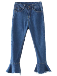 Deshilachado Dobladillo De Bell Bottom Jeans - Denim Blue