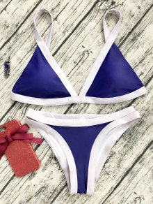 Two Tone Padded Swimsuit - Purplish Blue