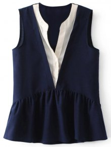 Faux Layered Peplum Tank Top