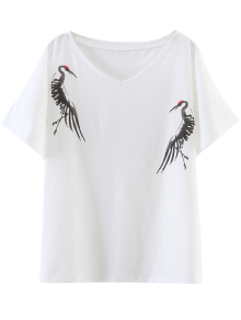 Side Slit Crane Print T-Shirt