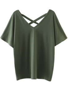 Oversized Crosscriss Top - Army Green
