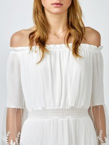 Off Shoulder Shirred Maxi Dress - WHITE S