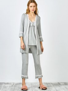 3 Pieces Lace Open Front Sleepwear Suits - Gray L