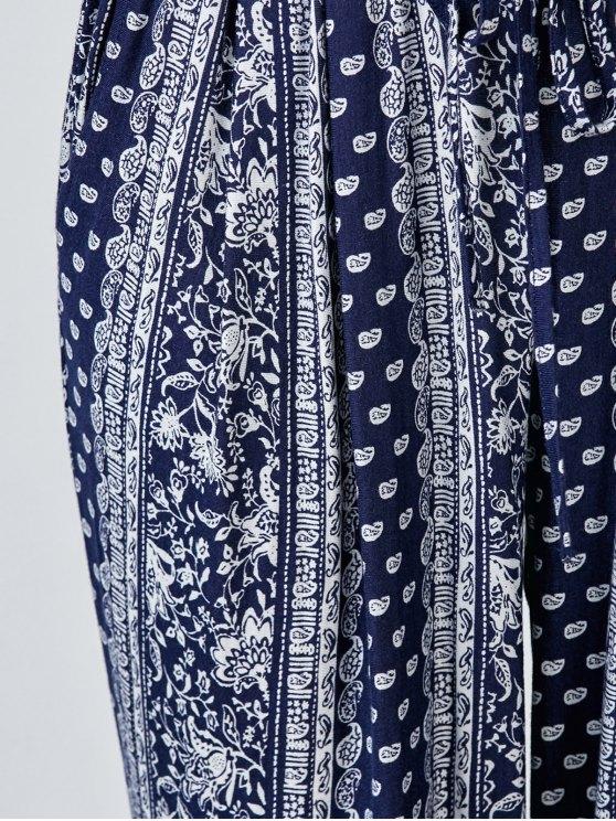 Paisley Print Carrot Pants - BLUE L Mobile