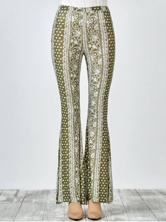 Printed Flare Pants - OLIVE GREEN M Mobile