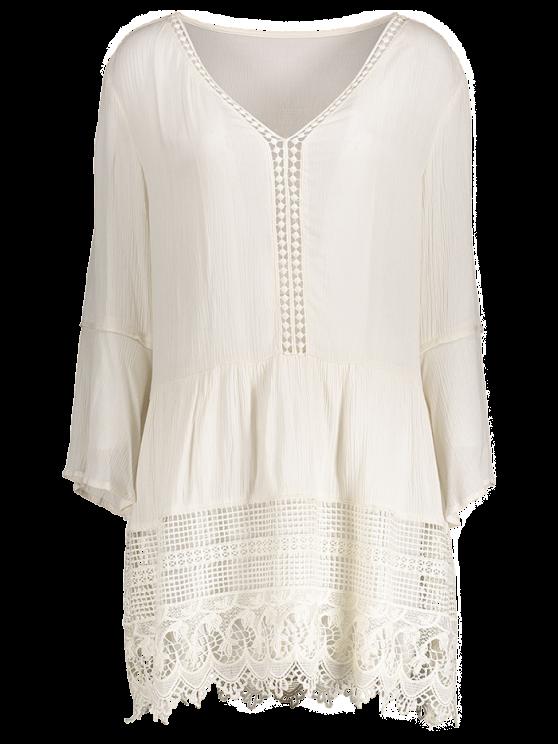 Belled Sleeve Crochet Trim Shift Dress - WHITE S Mobile