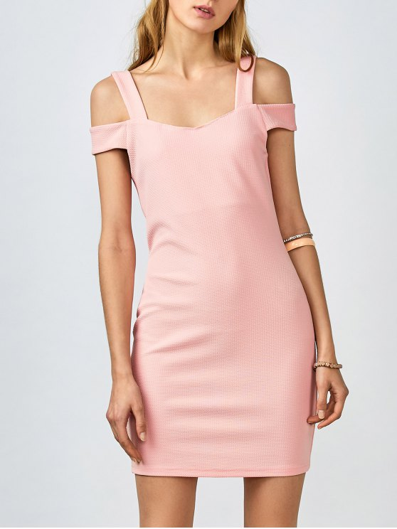 Cold Shoulder Bodycon Dress - PINK L Mobile