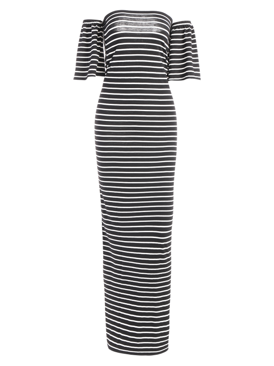Striped Off The Shoulder Long Dress - WHITE AND BLACK L Mobile