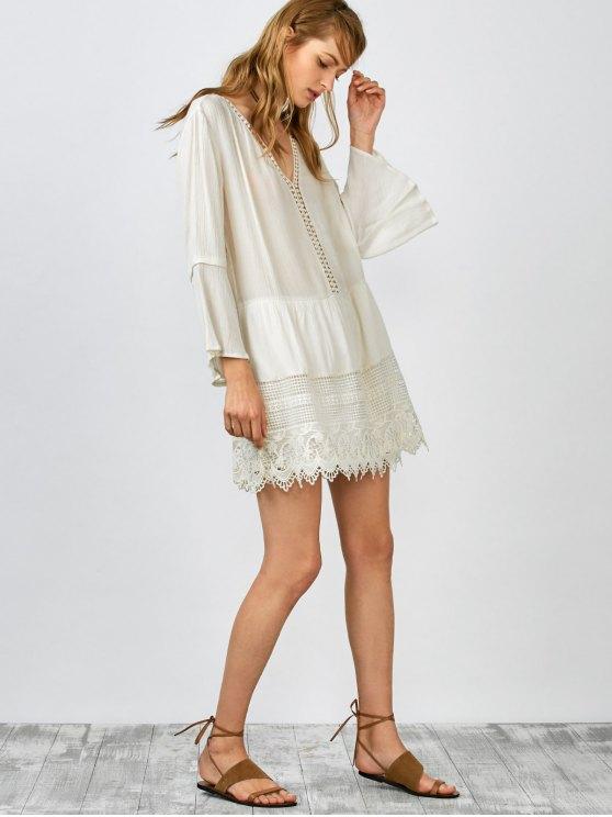 Belled Sleeve Crochet Trim Shift Dress - WHITE L Mobile
