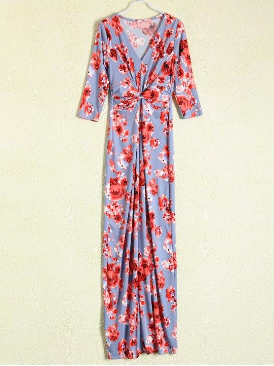 Vestido floral maxi Frente Reunidos - Azul Gris M